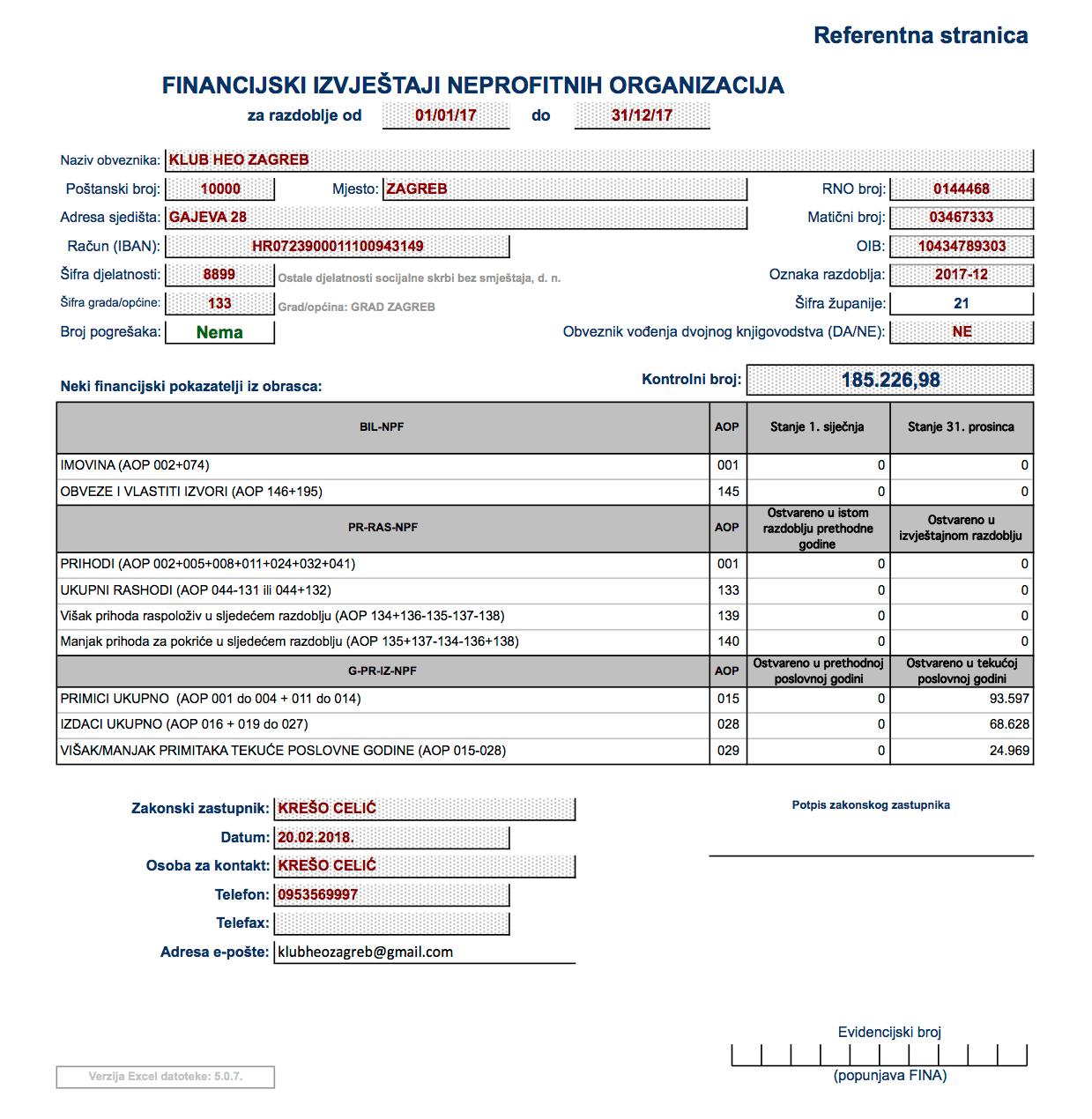 Financijski izvjestaj za 2017. godinu - Referentna stranica